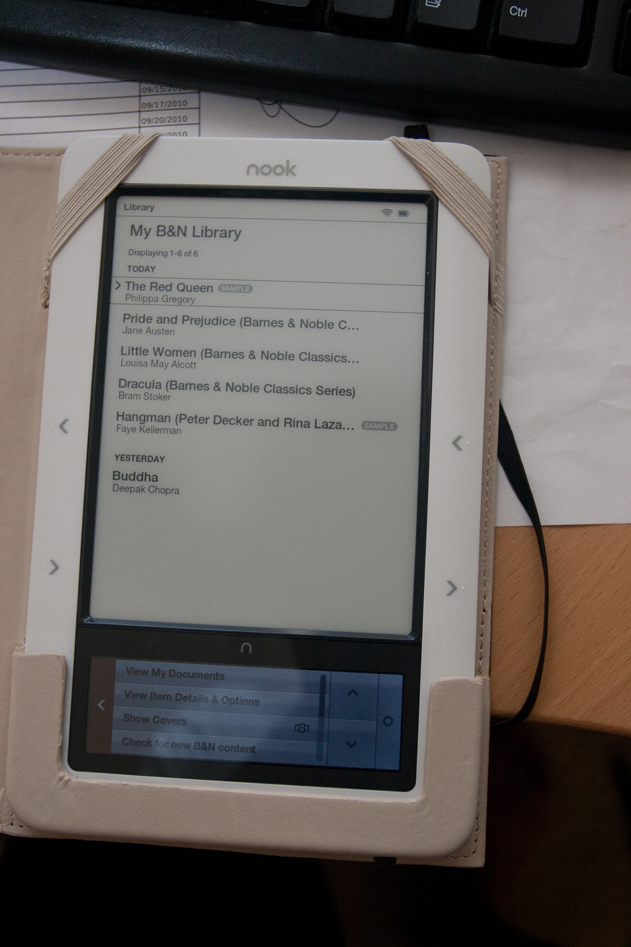 The list of books loaded into my Barnes and Noble Nook