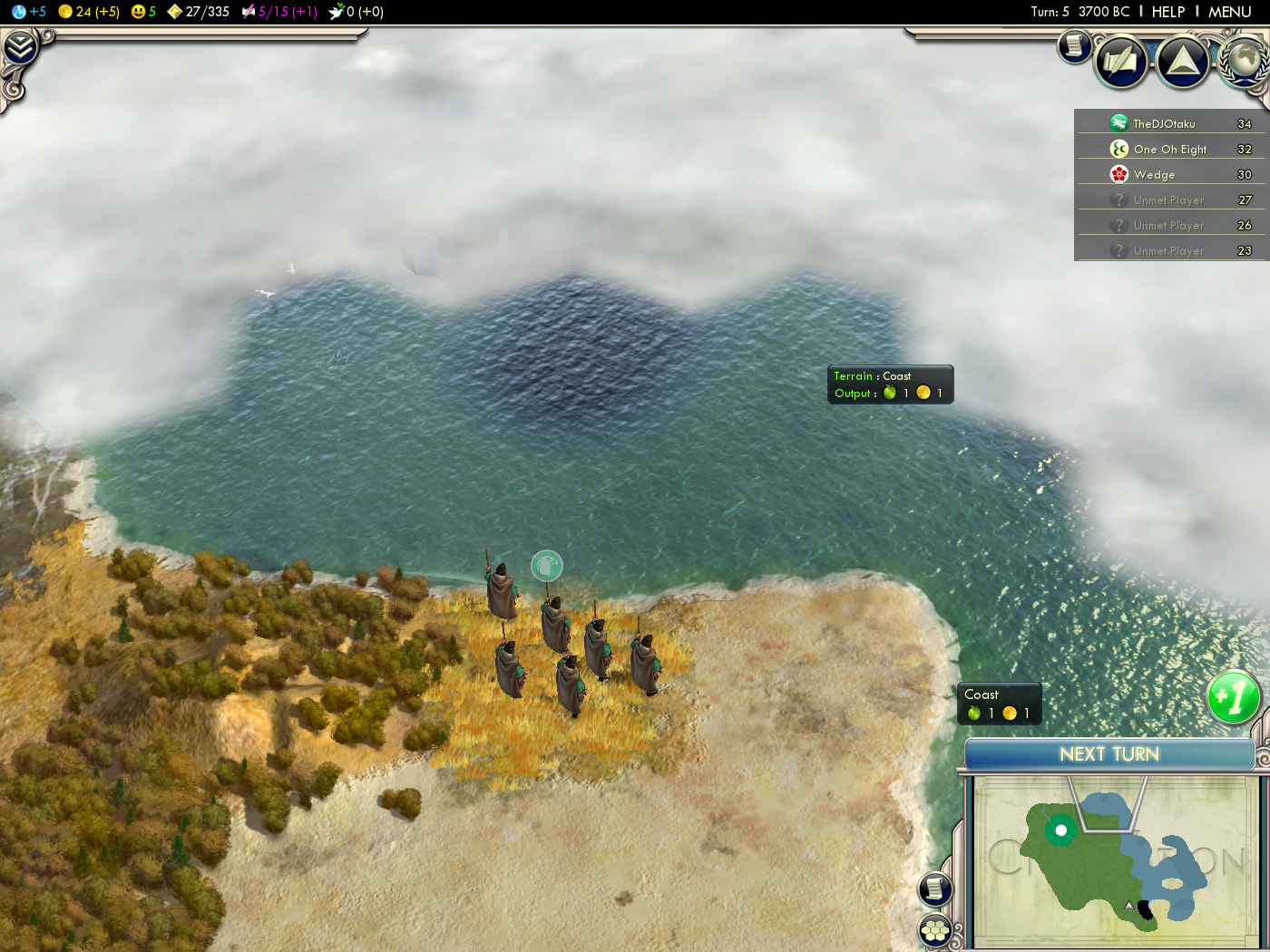 Civilization 5 - against Dan and Dave - Scouts reach the coast - 3700 BC