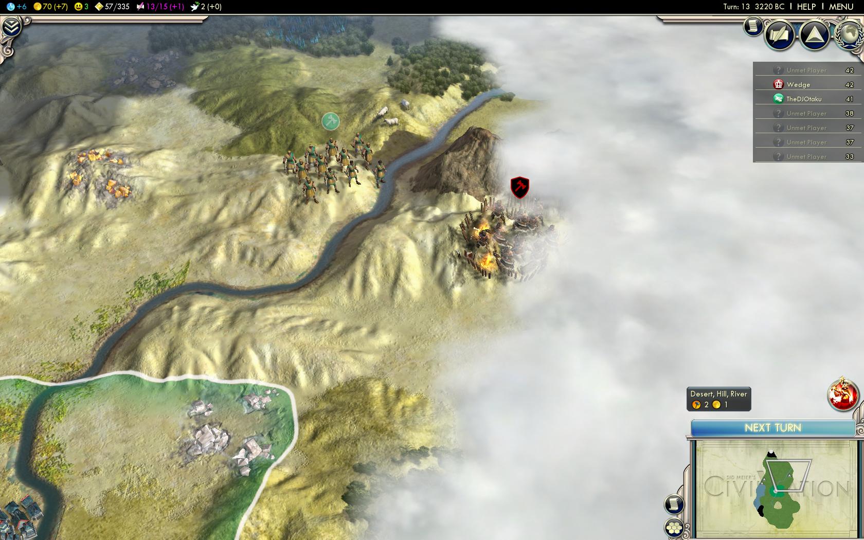 Civilization 5 - against Dave - Warriors locate barbarian camp - 3220 BC