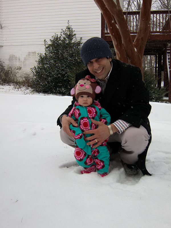 Scarlett in the snow for the first time
