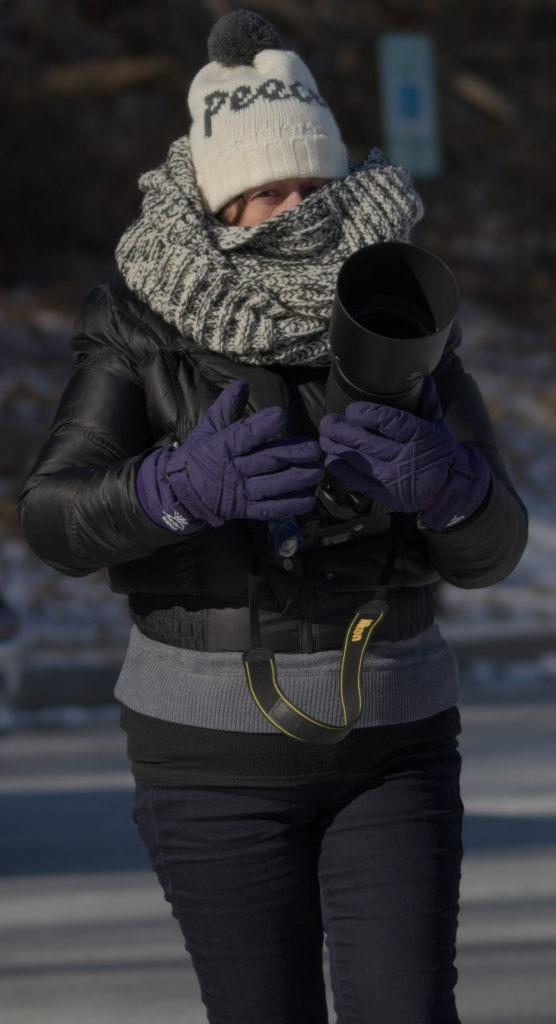 Mom, bundled up for the frigid temperatures